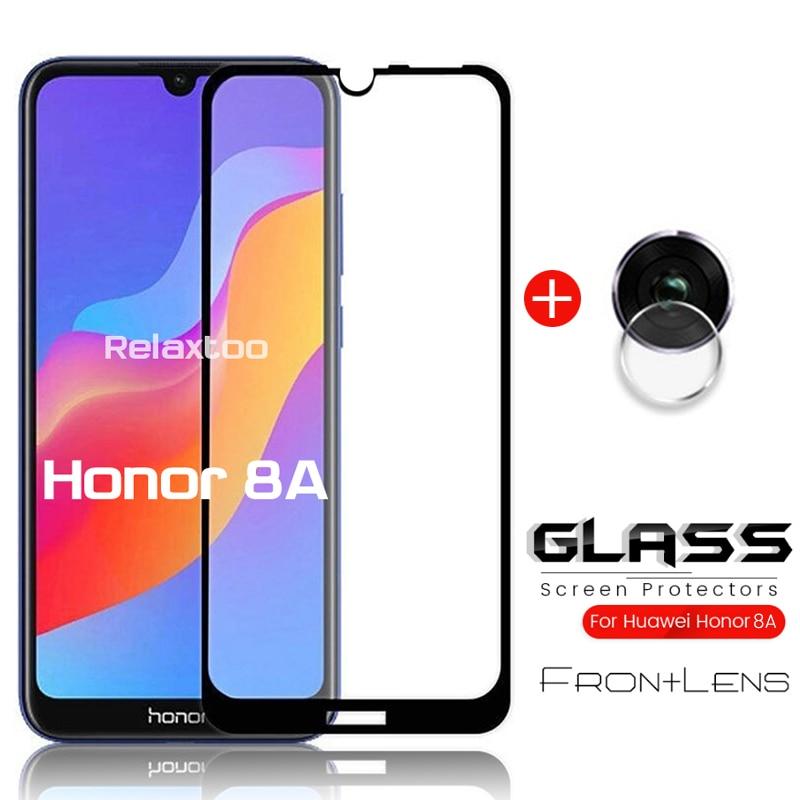 2-em-1 vidro em honra 8a proteção de vidro honra 8a pro protetor de câmera para huawei honor 8a prime honor8a filme honer 8 a 6.09