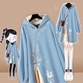 Платье-Ципао с капюшоном в китайском стиле, толстый теплый длинный пуловер оверсайз в стиле Харадзюку, свитшот с вышивкой и пряжкой