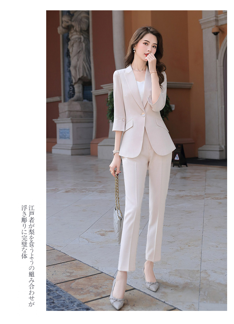 Ha50fde32024c4c9d82494b1ce828c0c6D - Black Apricot Female Elegant Women's Suit Set Blazer and Trouser Pant Business Uniform Clothing Women Lady Tops and Blouses