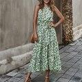 Летнее модное зеленое платье ATUENDO для женщин, сексуальные богемные платья-Макси без рукавов для девушек, богемное шелковое женское платье с ...