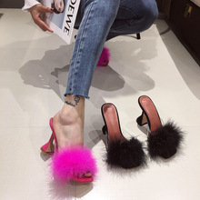 2020 Summer European and American  Transparent Square Crystal Spool Heels High Slippers Shoes Large Size 41 fur slides