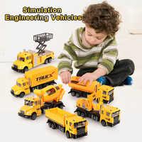 6 unids/set Aleación de simulación ingeniero camiones fundido vehículos de construcción juguete de modelo de coche excavadora camión regalo para los niños