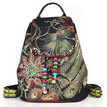 China Bag Female 2019 Ethnic Embroidery Bag Embroidered Peacock Canvas Backpack New Shoulder Bags Chinese Hmong Vintage