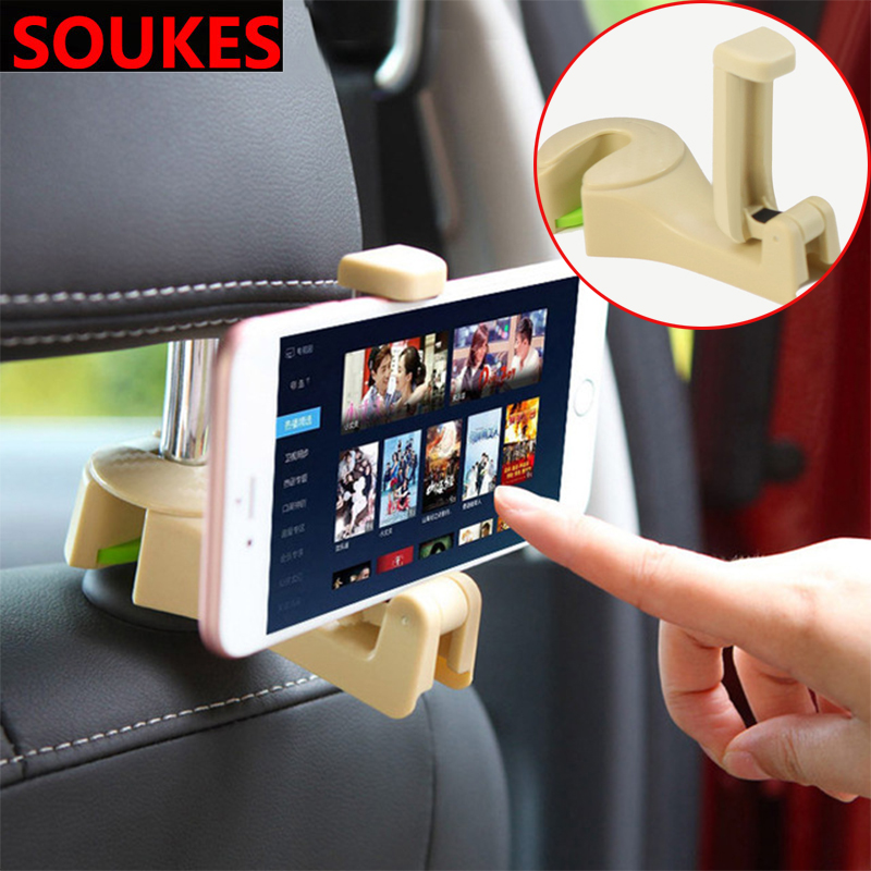 Foldable Car Seat Back Headrest Hook <font><b>Phone</b></font> <font><b>Holder</b></font> For Ford Focus 2 3 VW Passat B6 B5 B7 B8 Touran Toyota Avensis <font><b>Mazda</b></font> 3 <font><b>6</b></font> image