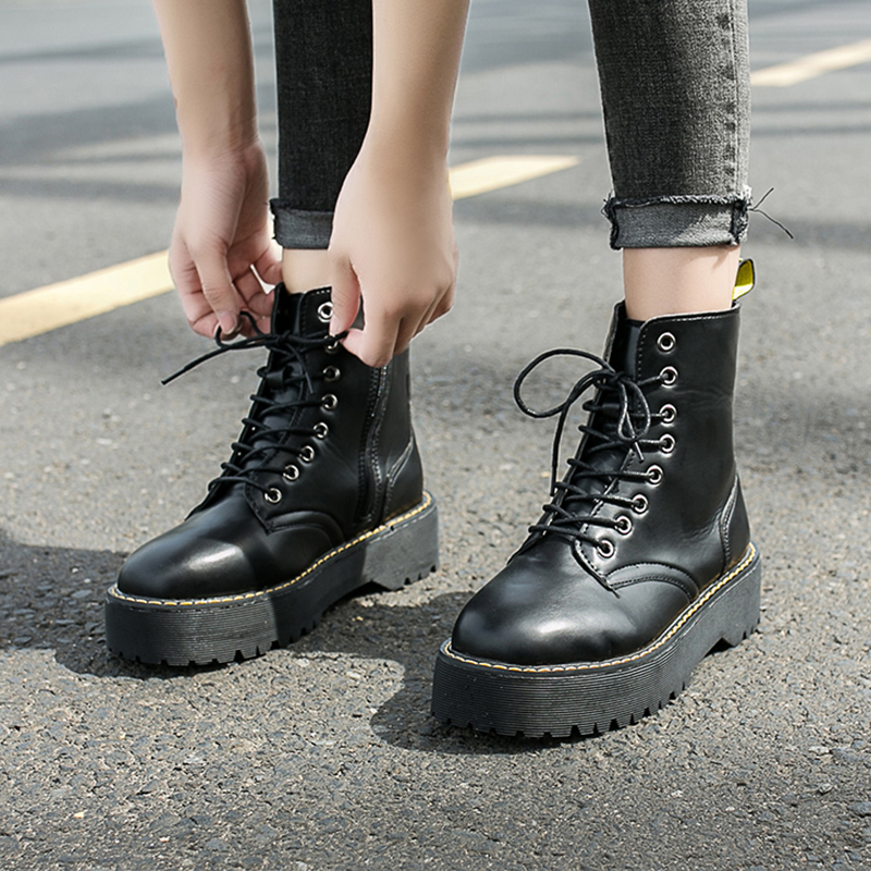 Autumn Winter Ankle Boots Women Platform Boots Rubber Sole Lace Up Black Soft Leather High Heels Shoes Woman Comfortable
