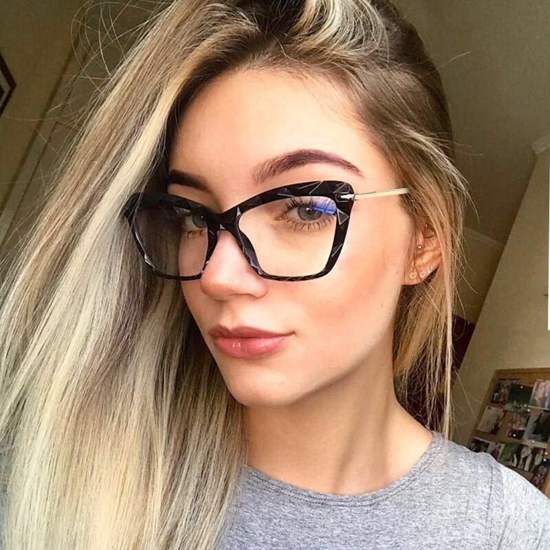 Cat Eye Glasses Frames Men Women 2019 Vintage Brand Designer Spring Hinge Unique Faceted Eyeglasses Ladies Transparent Eyewear