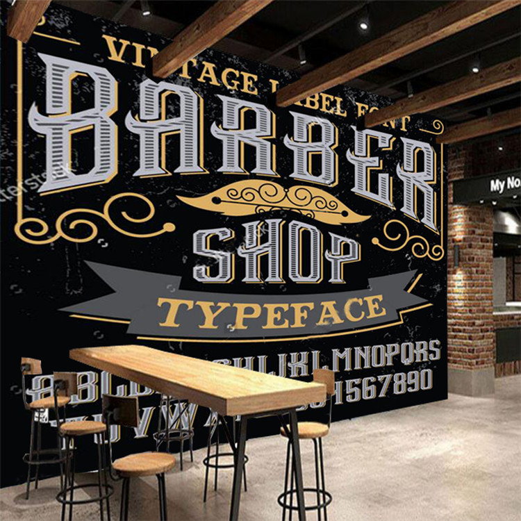 3D Modern Wallpaper, Barber Theme Elements For The Wall Of The Barber Shop Living Room Wall Wallpaper PVC Papel De Parede