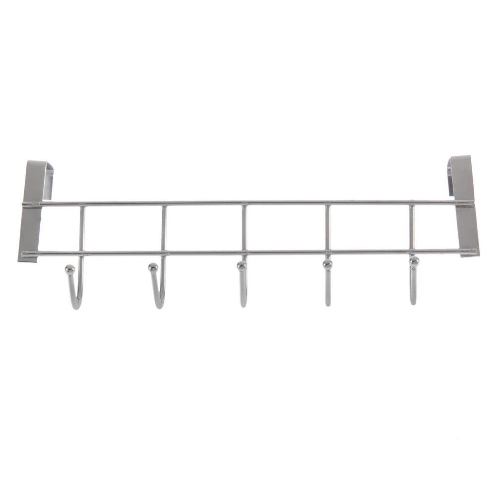 1pc Over Door Home Coat Towel Hanger Bathroom Kitchen Rack Holder Shelf 5 Hooks Bathroom Cabinet Holder Organizer