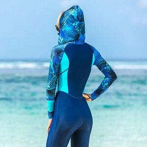 Image 5 - לייקרה UPF 50 + מלא גוף צלילה חליפת צלילה חתיכה אחת ארוך שרוול פריחה משמר עם כובע נשים בציר בגדי ים גלישה חליפת אנטי uv