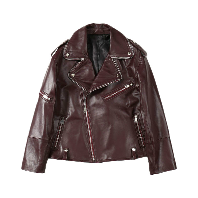 Autumn 2020 Self-cultivation Commuting Zipper POLO Collar Sheepskin Long Sleeve Leather Jacket Wine Red Black Apricot Red