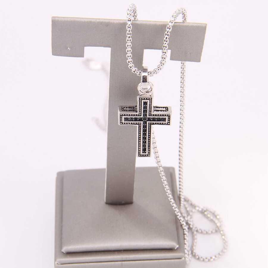 Thomas czarny cyrkon krzyż galwanicznie srebrny wisiorek i srebrny kolorowy naszyjnik, Rebel biżuteria w kształcie serca dla kobiet mężczyzn TS my NB130