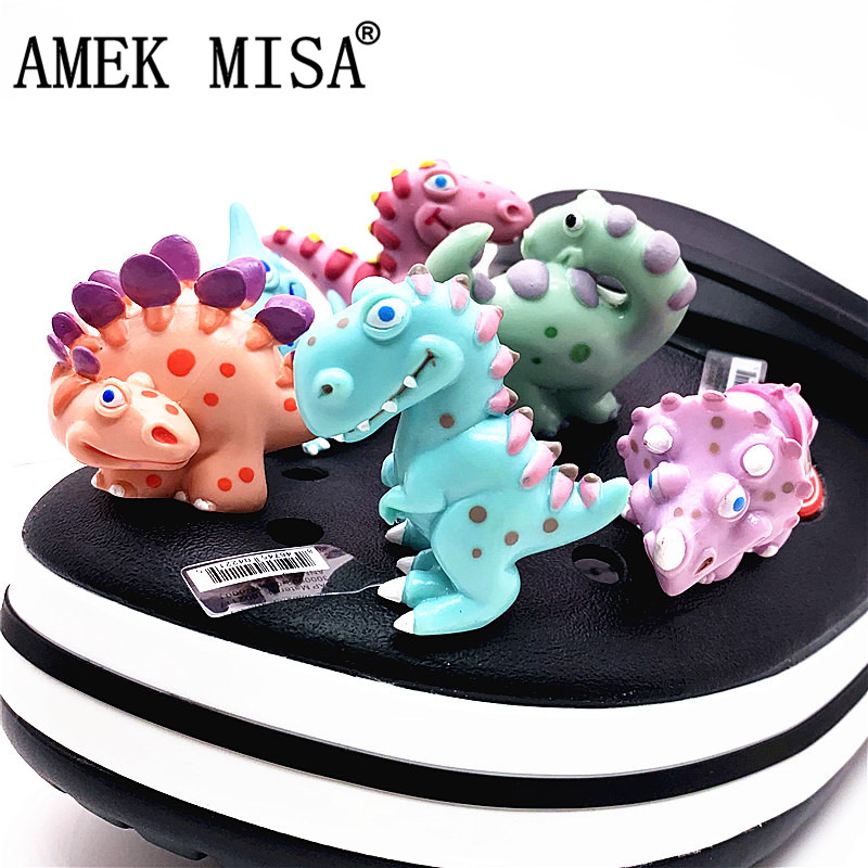 Single Sale 1pc Dinosaur Shoe Croc Charms Shoe Accessory Tyrannosaurus/Raptor/Stegosaurus/Pterosaur Shoe Original Decorations