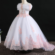 Flower Girls Pageant Dress Kids Wedding Dresses For Girl Vestidos 2020 Children Lace White Princess Robe Kid Party Evening Gown children s white gown flower girls tutu dress birthday weddig party dress princess girls dresses robe fille costume for kids page 1