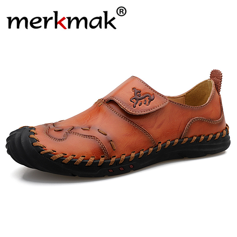 Merkmak 2020 Spring Genuine Leather Men Casual Shoes Brand New Mens Loafers Moccasins Breathable Driving Shoes Plus Size 38-48