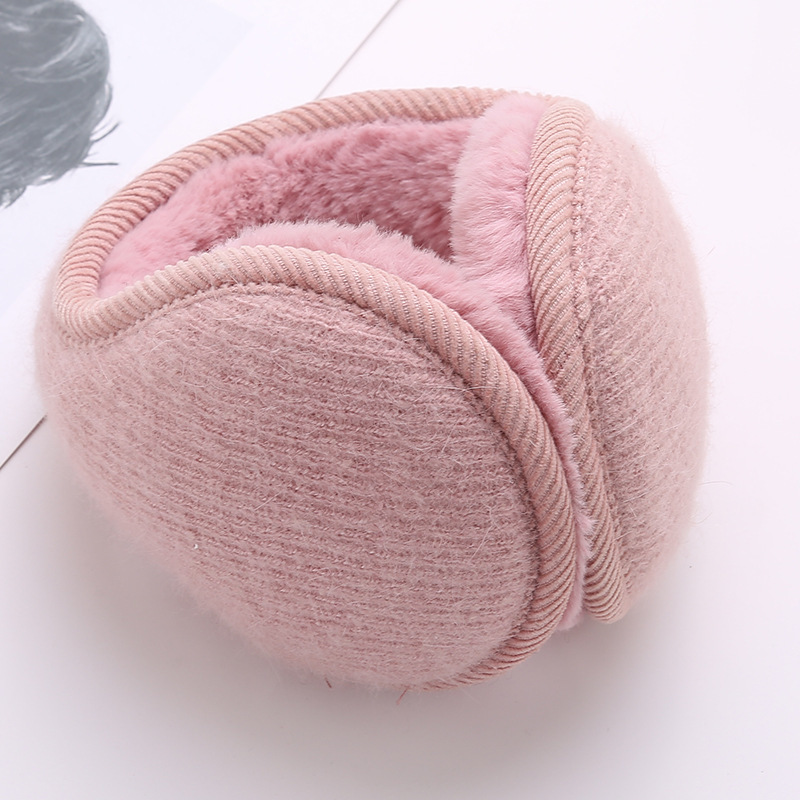 Rabbit Fur Knitted Plush Earmuffs Fashion Men Women Winter Warm Solid Earmuffs Adjustable Ear Warmer Soft Ear Muffs