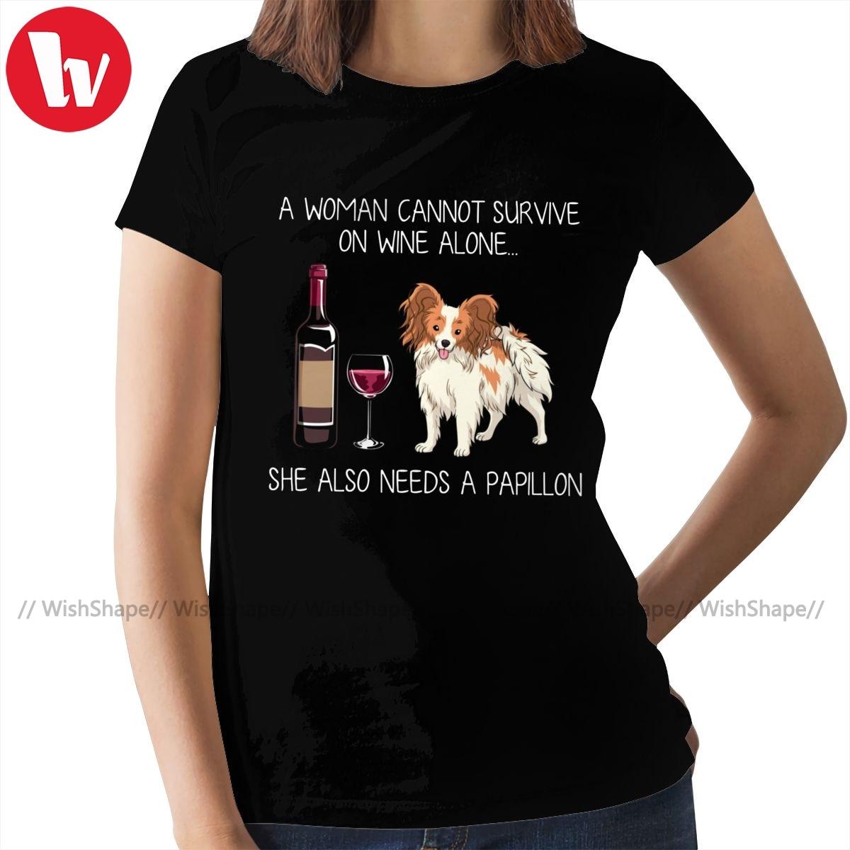 Papillon Dog T-Shirt Papillon And Wine T Shirt Print Short Sleeve Women tshirt 100 Cotton Ladies Tee Shirt