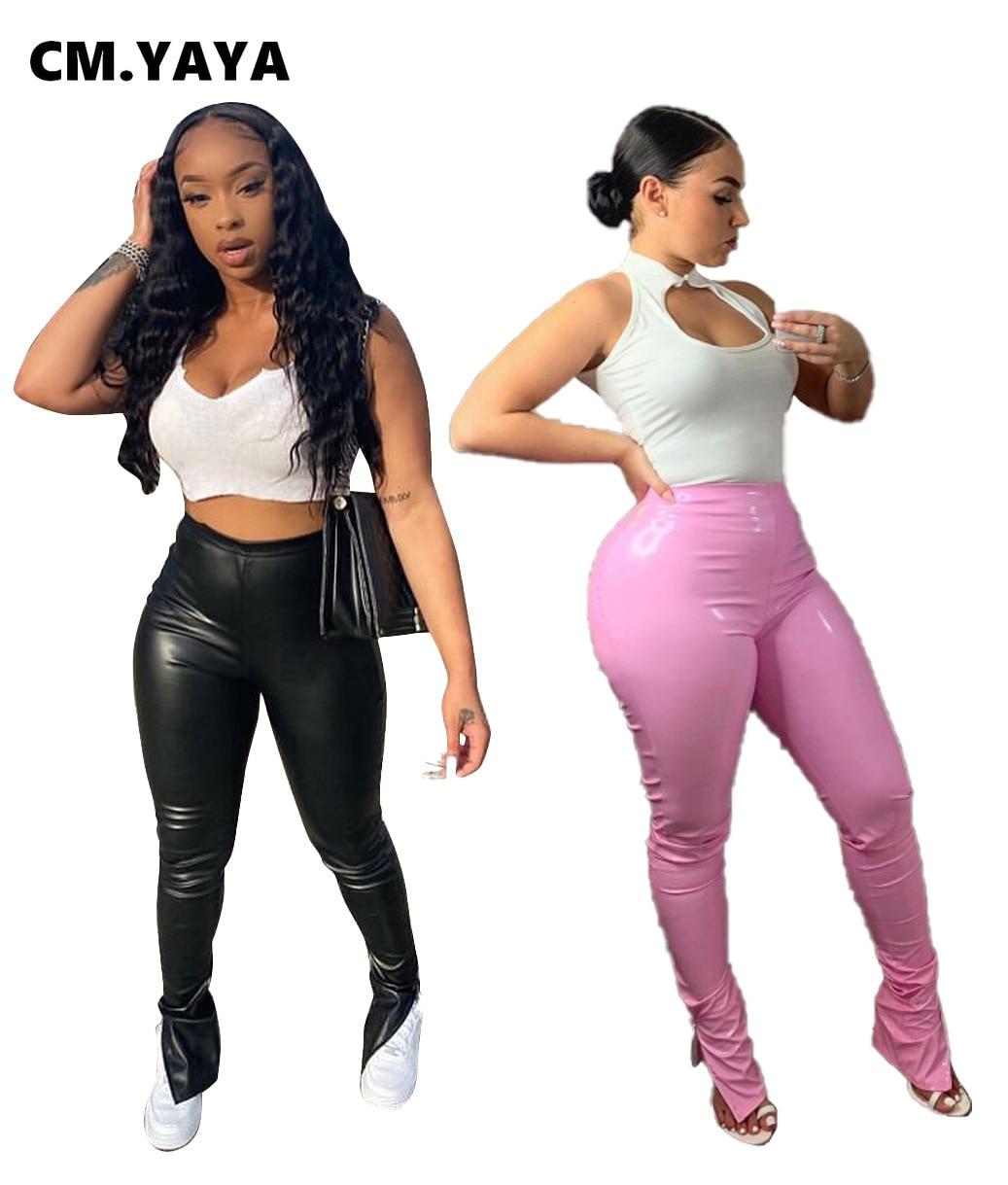 CM.YAYA Activewear Women Faux Leather Zipper Slit Side Pants Leggings High Waist PU Stacked Trousers Draped Streetwear Pants