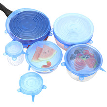 6 Pcs Reusable Silikon Stretch Lids Makanan Bungkus Mangkuk Pot Tutup Pengawet Film Bungkus Plastik(China)