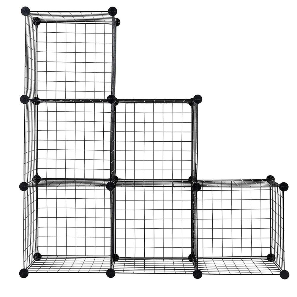 Metall Grids Bücherregal Kombination Schließfächer Modulare Bücherregal DIY Schrank Schrank Lagerung Regale für Wohnzimmer Schlafzimmer Büro