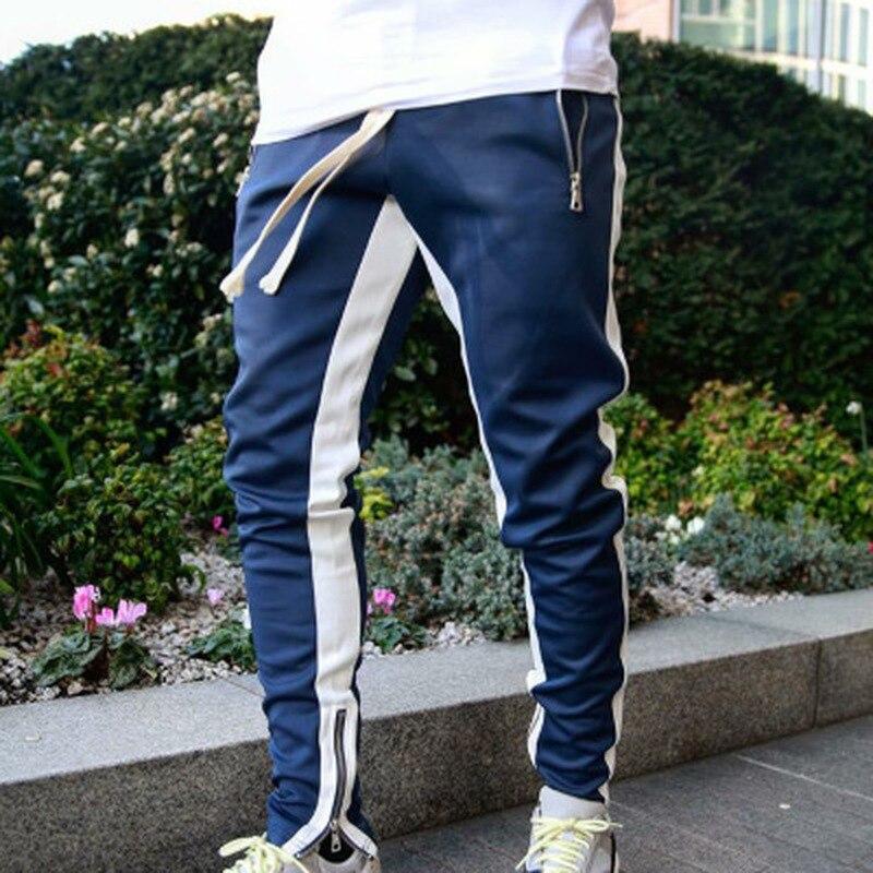 Jogginghose Männer Taschen Einfarbig Seite Gestreift Casual Hosen Herren Kleidung 2021 Frühling Jogger Hosen Mann Fashion Street Wear