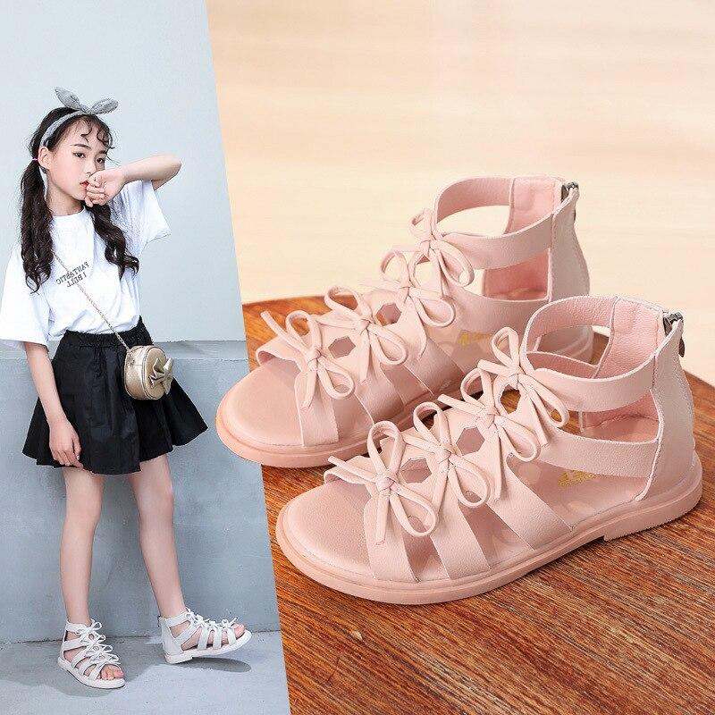New Children's Roman High Help Sandals Shoes Girls Summer Sandals Fashion Princess Shoes Children Soft Bottom Beach Shoes A900