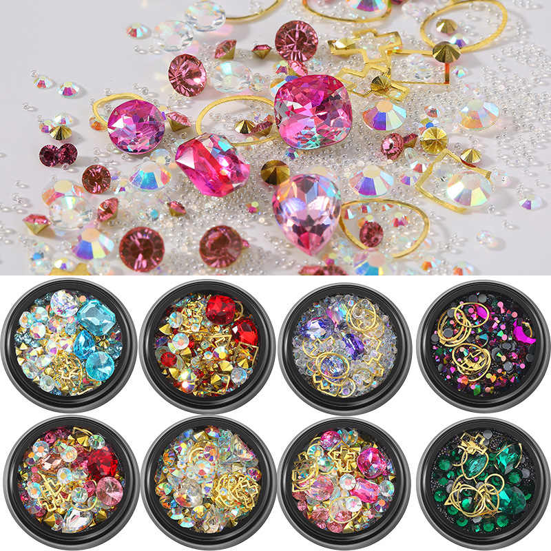 1 Box 3D Nail Diamonds Nail Decoration Glass Micro Beads Hollow Metal Rivet Nail Accessories DIY Decors Nail Design