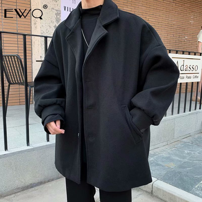 EWQ / Men's Coat 2020 Spring New Solid Color Woolen Jacket Male Loose Oversize Clothing Big Size All-match Jacket 9Y285