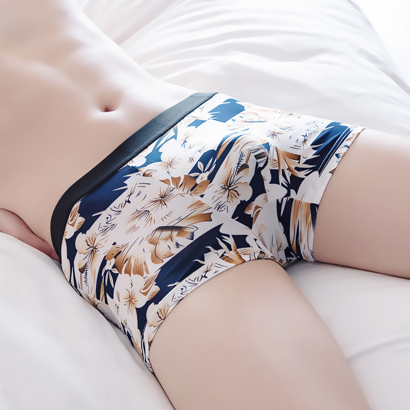 L-4XL Large Size Solid Color Printed Panties For Men Summer Ice Silk Middle Waist Boxer Pants Fashion Men's Panties