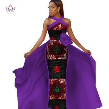 In Stock African Women Clothing Long Maxi Dashiki Dress For Women Bazin Riche Robe Longue Plus Size Print Cotton Dress Wy2340