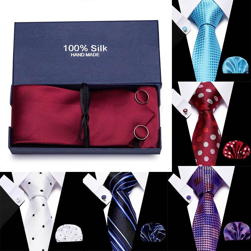 Fashion Neckties Classic Men's Stripe Navy Blue Wedding Ties Jacquard Woven 7.5 Cm 100% Silk Men Neck Ties Gift Box Packing