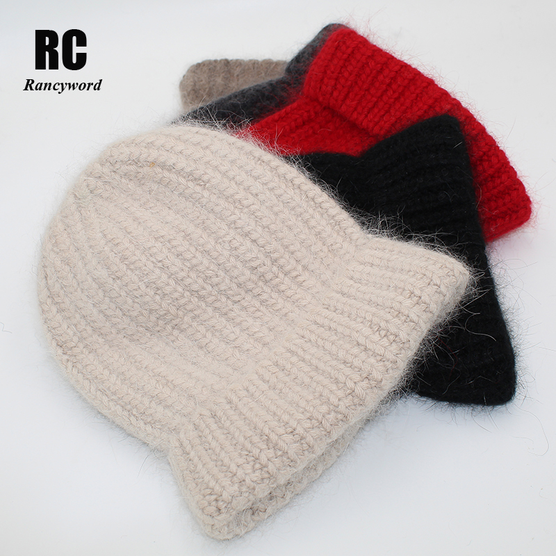 [Rancyword] Winter Hats For Women Wool Knitted Angora Hat Beanies Female Warm Rabbit Fur Skullies Beanie For Girl 2019 RC2081-1
