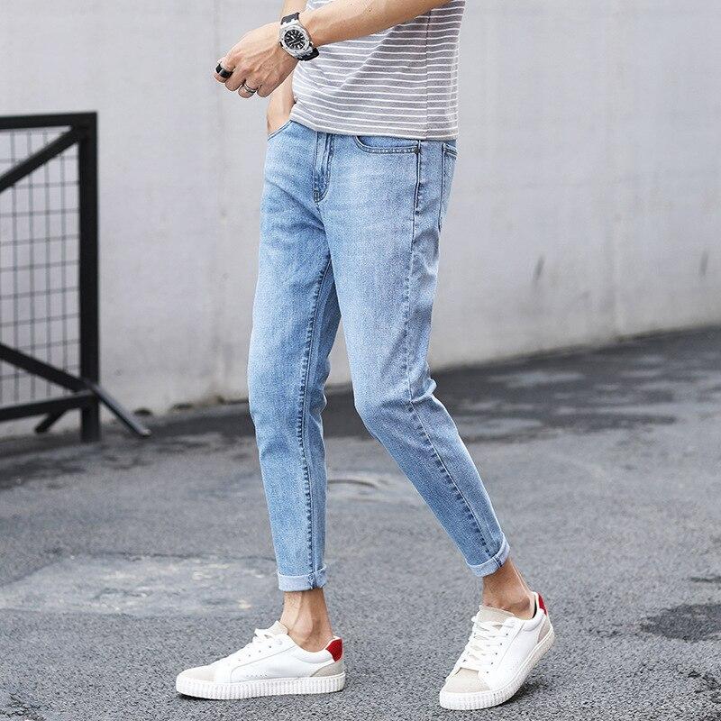 Summer Korean-style Slim Fit Teenager Thin Capri Jeans Men's Elasticity 9 Points Skinny Jeans Popular Brand 303