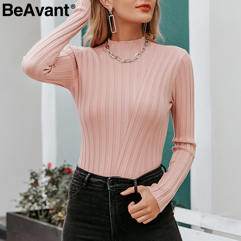 BeAvant Multicolor Knitted Pullover Sweater Women Autumn Winter Long Sleeve Turtleneck Sweater Casual Chic Lady Bestmatch Jumper