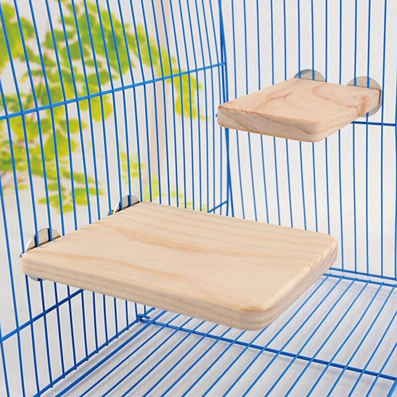 Squirrel Parrot Bird Standing Platform Wood Cage Board Hamster Pet Rat Hang Toys