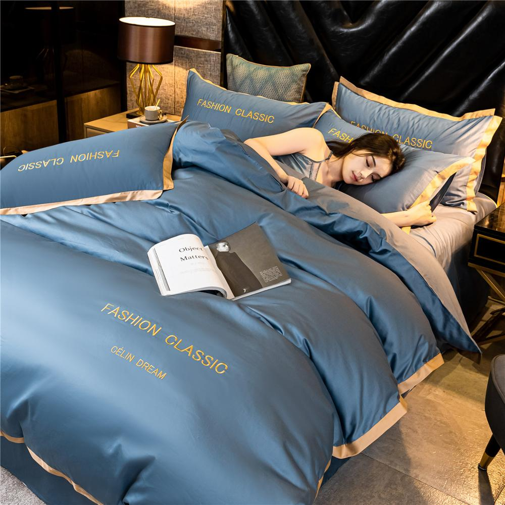 High-end quality Egyptian cotton bedding set embroidered satin light luxury quilt cover duvet cover bed sheet pillowcases 4