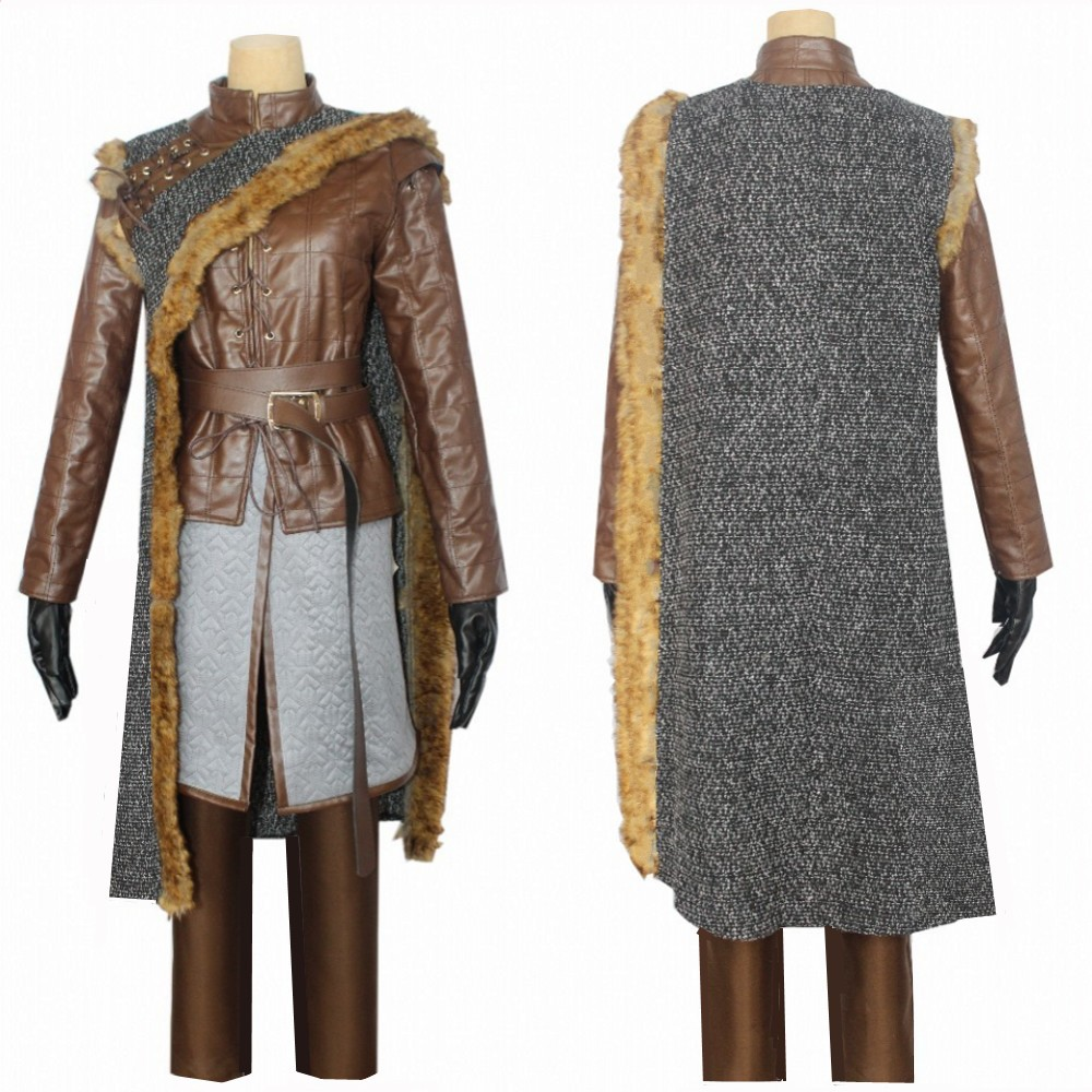 Game Of Thrones 8 Arya Stark Costume Cosplay Adult Halloween Christmas Carnival Dress Winter Cloak jacket Full set outfit