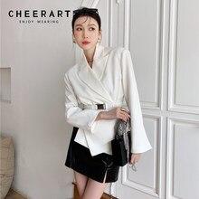 CHEERART – Blazer de styliste pour femmes, blanc, asymétrique, ceinture, costumes, noir, dames coréennes, vestes, haute mode