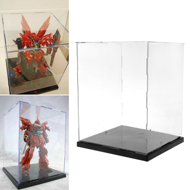 Clear Acrylic Display Box Dustproof Protect Model Show Case Colorful LED Light