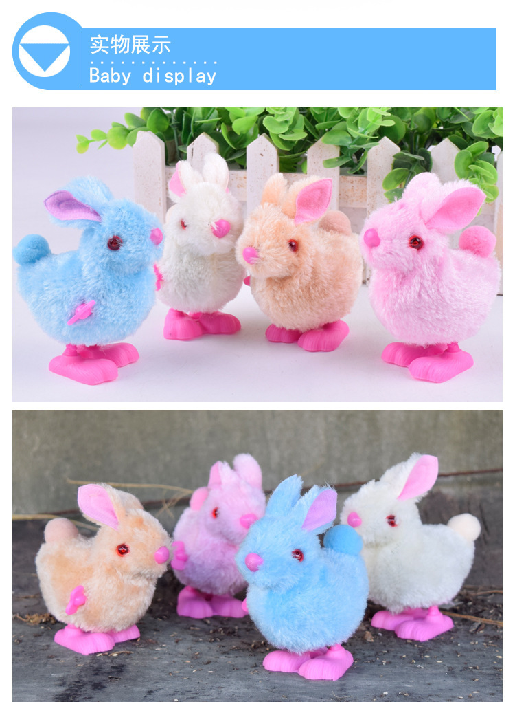 Spring Little Bunny Cartoon Jumping Color Plush Bunny Winding Toy Hot Selling