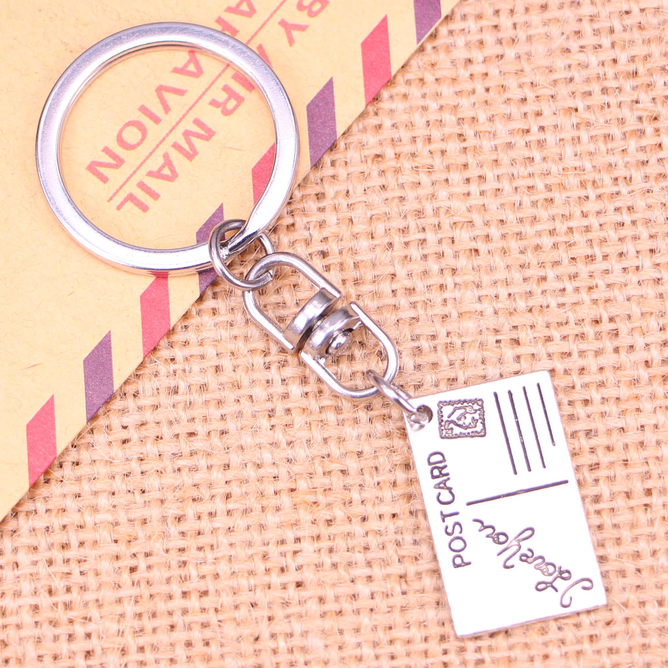 Nowe mody brelok 16*26mm pocztówka kocham cię wisiorki DIY mężczyzn biżuteria brelok do kluczyków do samochodu uchwyt pierścieniowy pamiątka na prezent