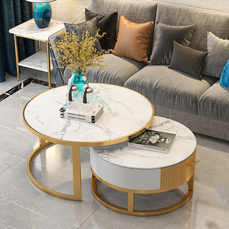 Upscale Round Leisure Minimalist Tempered Glass Coffee <font><b>Table</b></font> Living Room 2 in 1 Combination <font><b>Cafe</b></font> <font><b>Table</b></font> Assembly Center Marble image