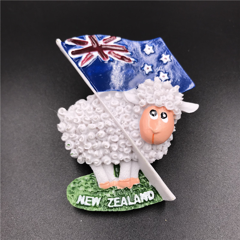 Hand Painted 3d resin <font><b>fridge</b></font> <font><b>magnet</b></font> <font><b>new</b></font> <font><b>zealand</b></font> flag cute sheep Kiwi bird magnetic sticker travel <font><b>souvenir</b></font> decoration crafts image