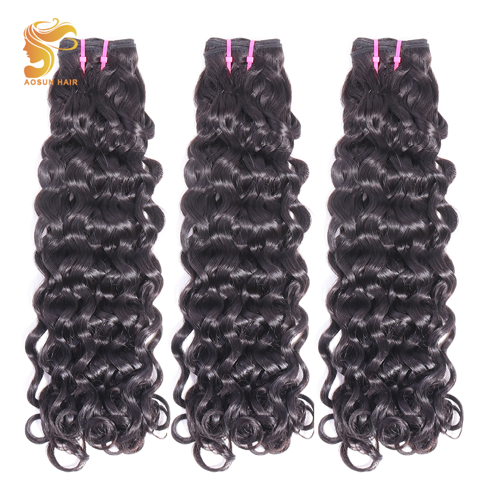 AOSUN HAIR Double Drawn Bouncy Curly 3PCS Natural Color 10-20inch Brazilian Hair Weave Bundles Remy Human Hair Fumi Loose
