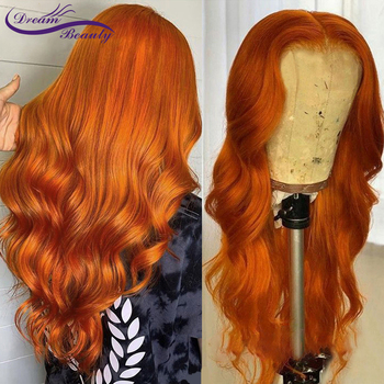 Ginger Orange Wig Human Hair Wave Lace Front Human Hair Wigs Brazilian Human Hair Wigs Lace Front Wave Wigs