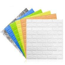 70x77cm 3D etiquetas para paredes de ladrillo sala de estar DIY PE espuma paneles de papel de pared habitación calcomanía piedra decoración papel para empapelar en relieve Póster