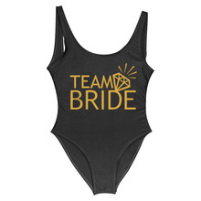 Team BRIDE & BRIDE Golden Letter Print Diamond One Piece Swimsuit Women Swimwear Bachelor Party One piece Swimming Suit Badpak(China)