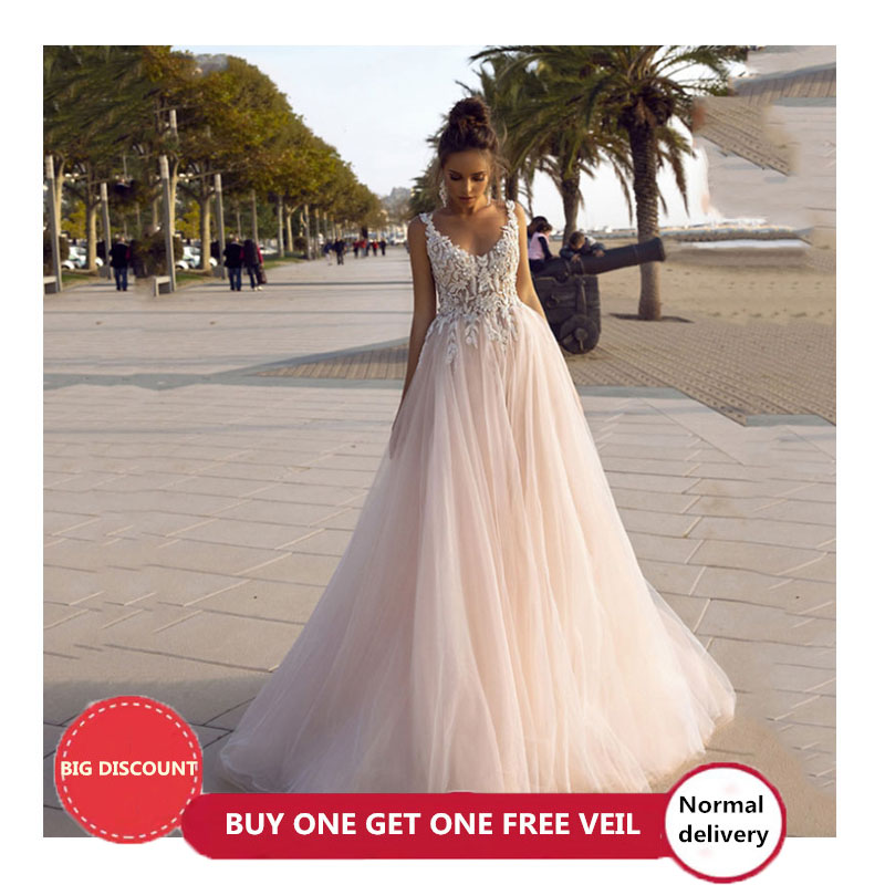 LORIE Princess Wedding Dress 2020 V-neck Backless Bride Dress 3D Appliques Wedding Gowns Vestido Novia