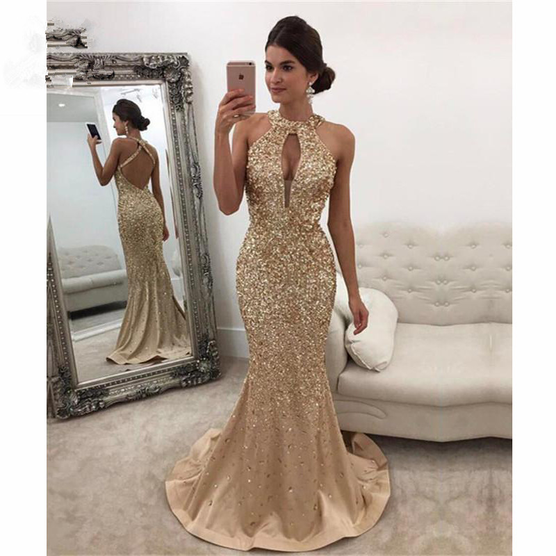 2019 Mermaid Halter   Prom     Dresses   with Crystals Beaded Sweep Train Backless Formal Evening Party   Dress   for Women