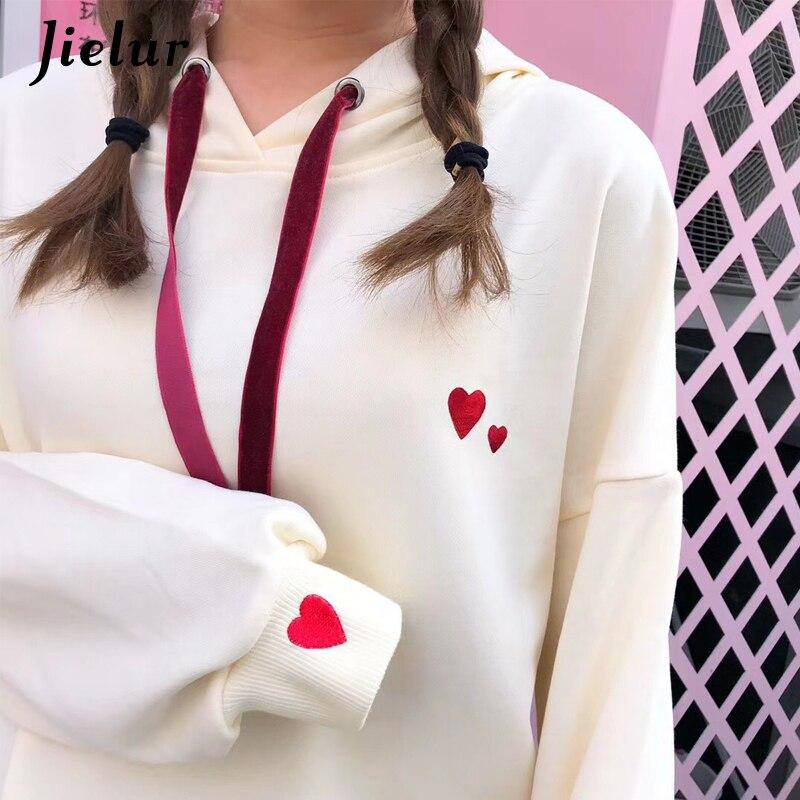 Jielur Heart Embroidery Women's Sweatshirt Hooded Winter Loose Kpop White Hoodies Female Fashion Casual Sudadera Mujer 2019 M-XL