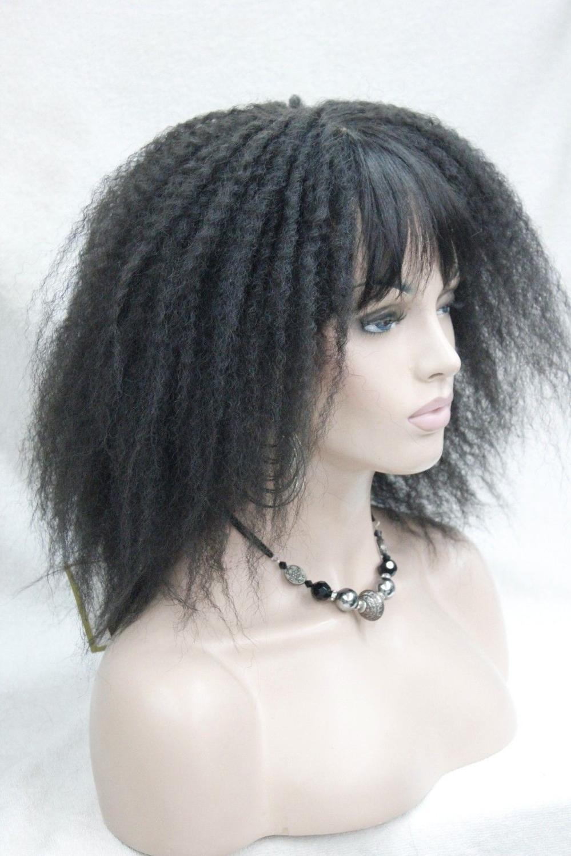 Афро кудрявый Средний Длина черный 2 # парик с челкой сенегаль Гавана стиль